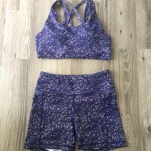 Senita purple web rio biker shorts bra top set M